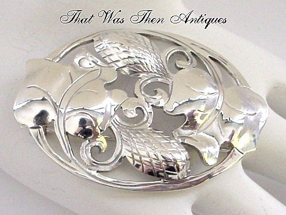 Large Kalo Handwrought Sterling Silver Brooch Pin