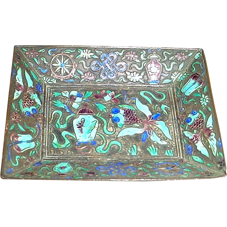 Antique Chinese Enamel Tray with Googly Eye Fish and More!