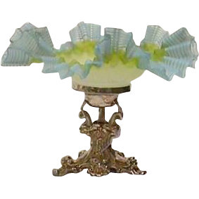 Superb Silverplate Dolphin Figural Holder and Frilly Art Glass Bowl