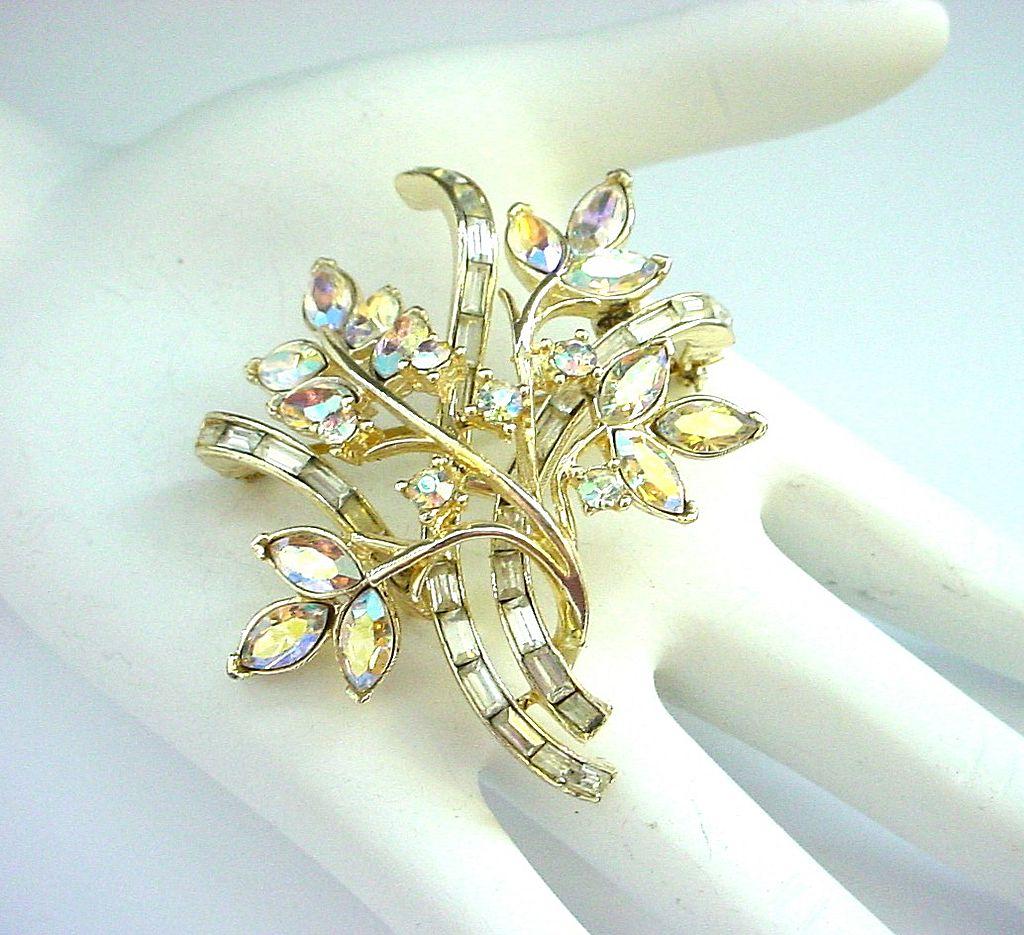 Vintage Coro Aurora Borealis Rhinestones Pin Brooch