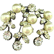 Very Early Costume Pin Brooch Large Faux Pearls and Rhinestones