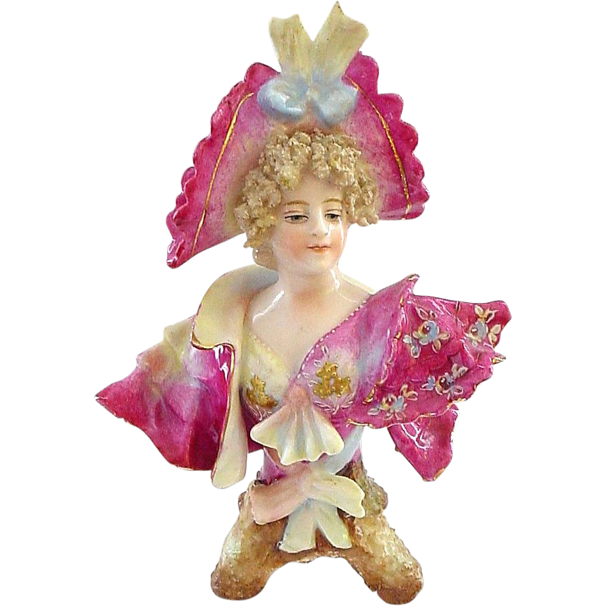 Our Best Royal Rudolstadt Miniature Bust - Beautiful Lady in Pink and Gold!