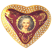 Vintage Heart Shaped Portrait Dish with Raised Dots