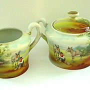 Royal Bayreuth Donkey Boy Scenic Creamer and Sugar Set