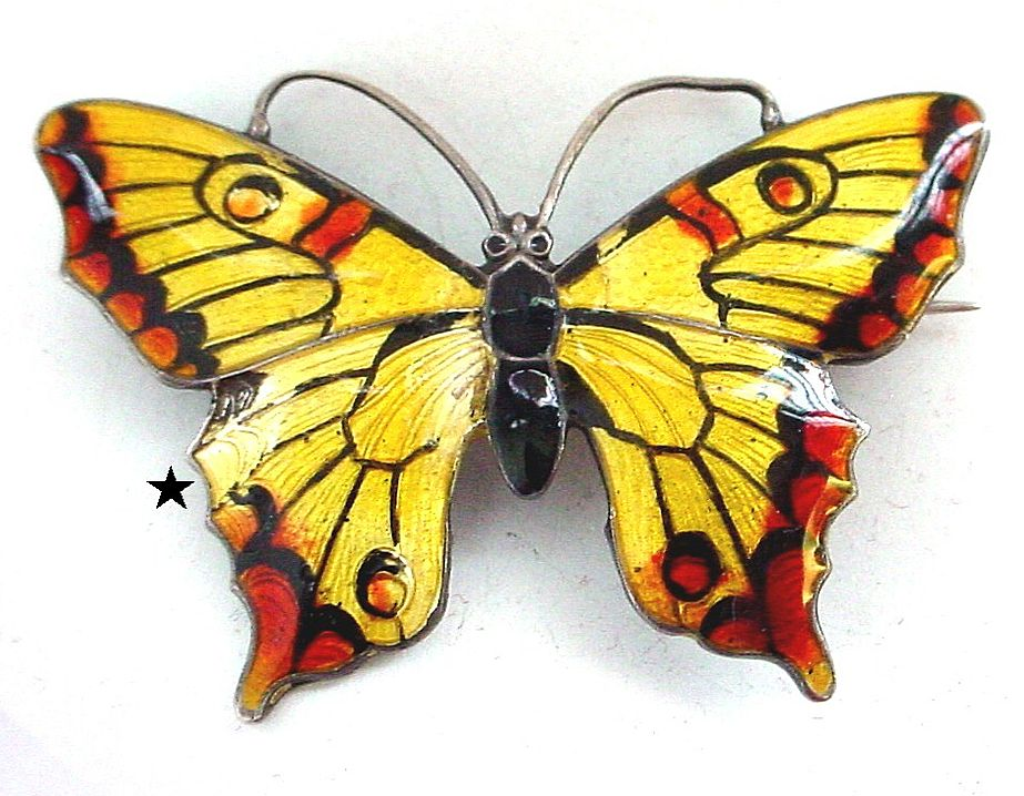 Enamel on Sterling Butterfly Pin - Rusty Red Yellow and Black