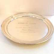 "PRICE SLASHED!! 12"" Sterling Silver B'nai B'rith Presentation Salver Charger  by Alvin - 455 grams!!"
