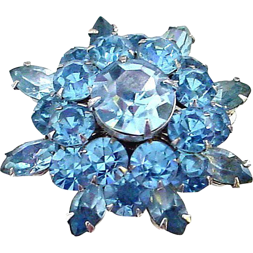 Vintage Coro Bright Blue Crystal Starburst Pin Brooch