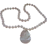 Pink Rose Quartz Beaded Necklace with Large Pendant