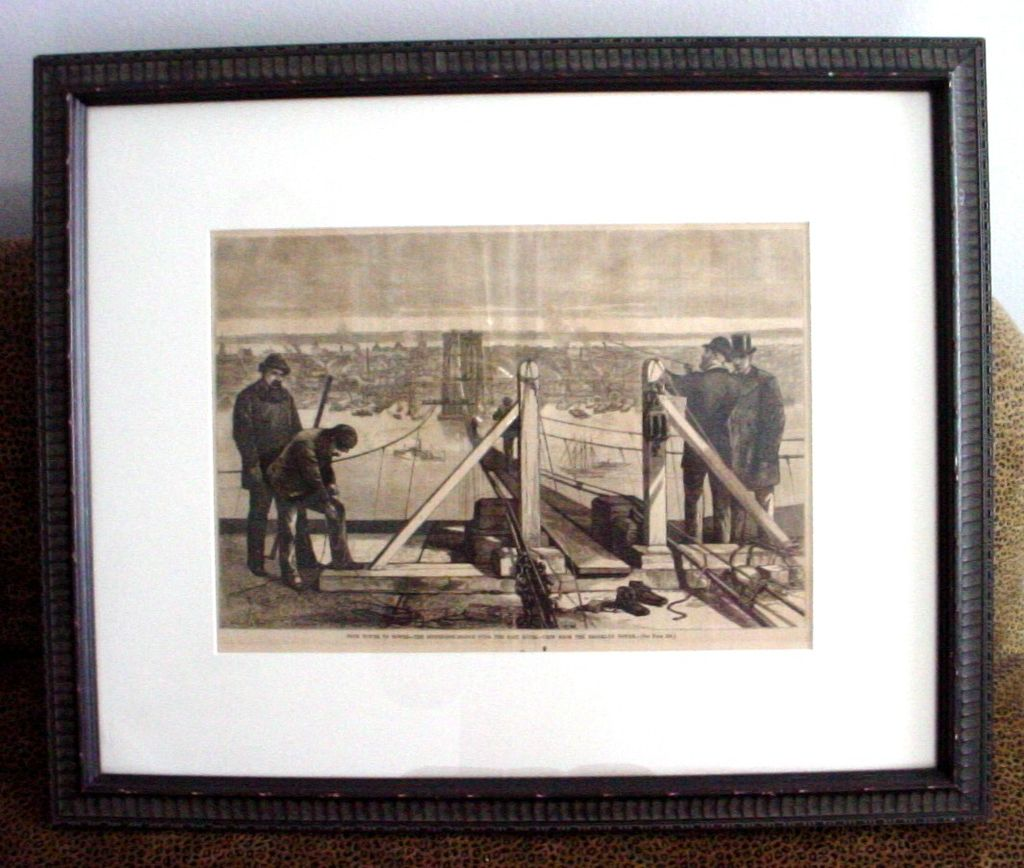 Framed 1877 Harper's Weekly Engraving of Brooklyn Bridge Under Construction