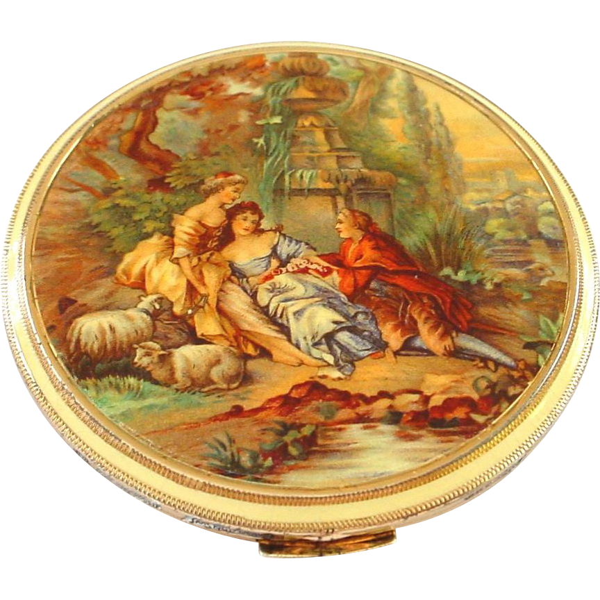 Large and Unusual 835 Silver and Enamel Germany Compact for Saks Fifth Avenue