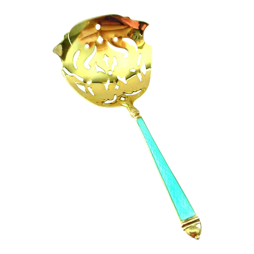 Robin's Egg Blue Enamel on Sterling Bonbon  or Nut Spoon