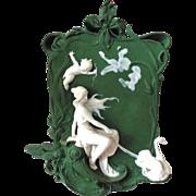 Woman and Swans Rare Volkstedt Germany Jasperware Jasper Ware Plaque
