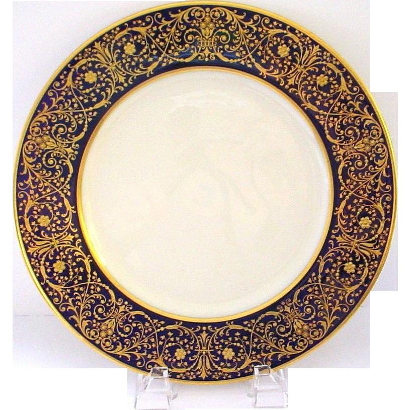 12 Splendiferous 1930s Raised Gold on Cobalt Blue Plates - Gold 'Jewelling' - Early Lenox