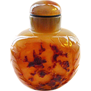 Large Banded Agate Hardstone  Intricately Carved Snuff Bottle - Birds and Landscape