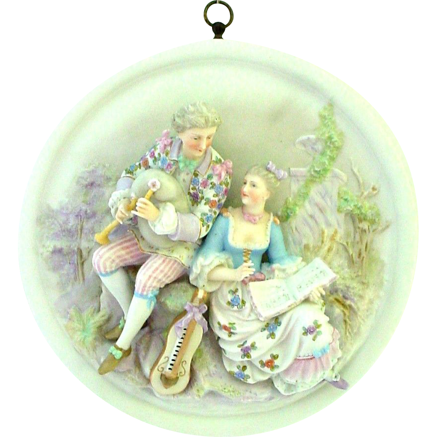 Extraordinary 3 Dimensional Porcelain Musical Lovers Plaque - German - Bagpiper and Stringed Instrument