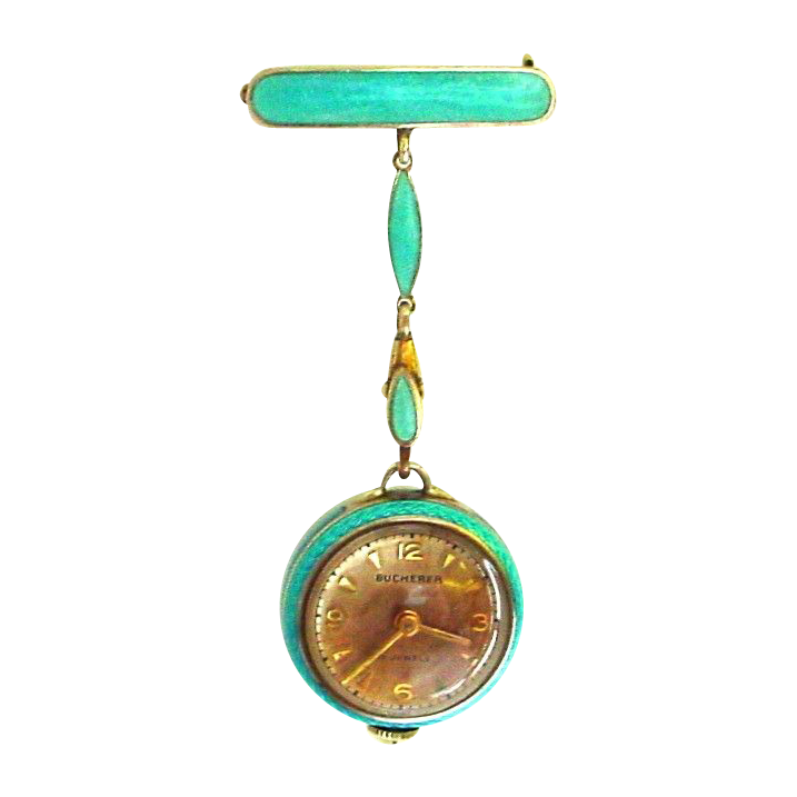 Amazing Bucherer Enamel Gilt Silver Pendant Watch plus Extras in Original Box!! Chain and Pin