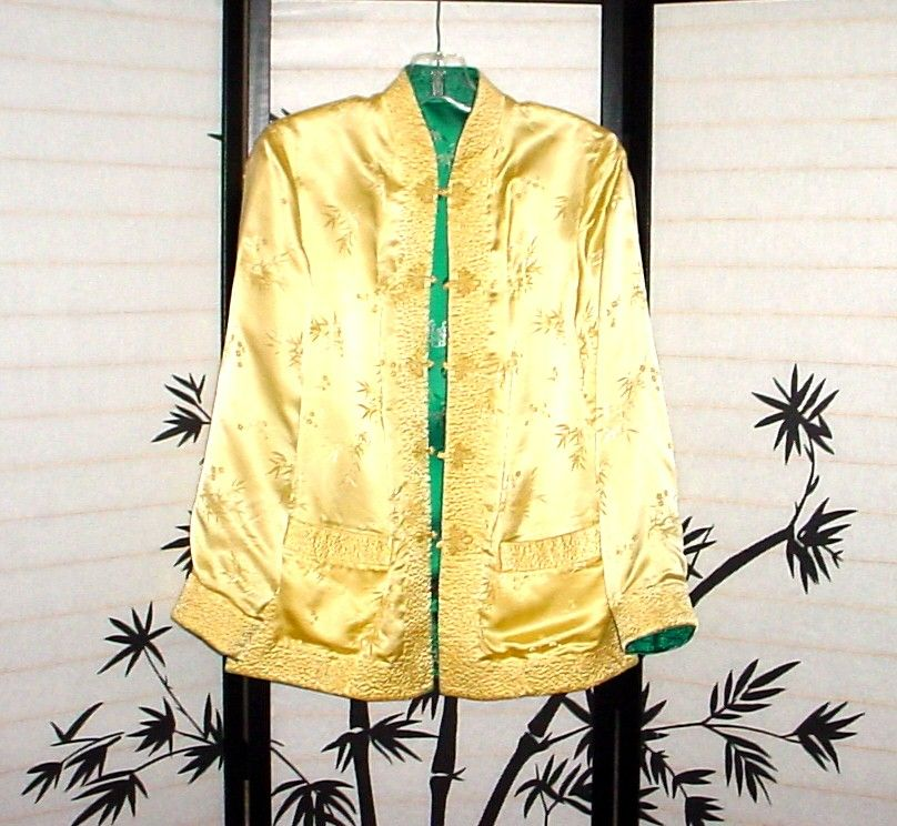 Vintage Satin Reversible Chinese Jacket - Light Gold/Teal - Pockets Too!