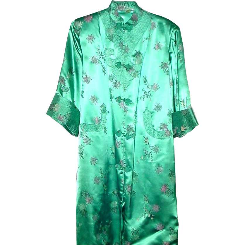 Long Satin Robe or Dressy Over Coat in Turquoise Color - Sz Med - Large