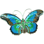 Sweet Enamel on Sterling Silver Butterfly Pin