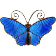 David Andersen Blue Enamel on Sterling Butterfly Pin