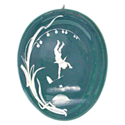 Unusual Pate Sur Pate Style Plaque - Angel and Lily of the Valley
