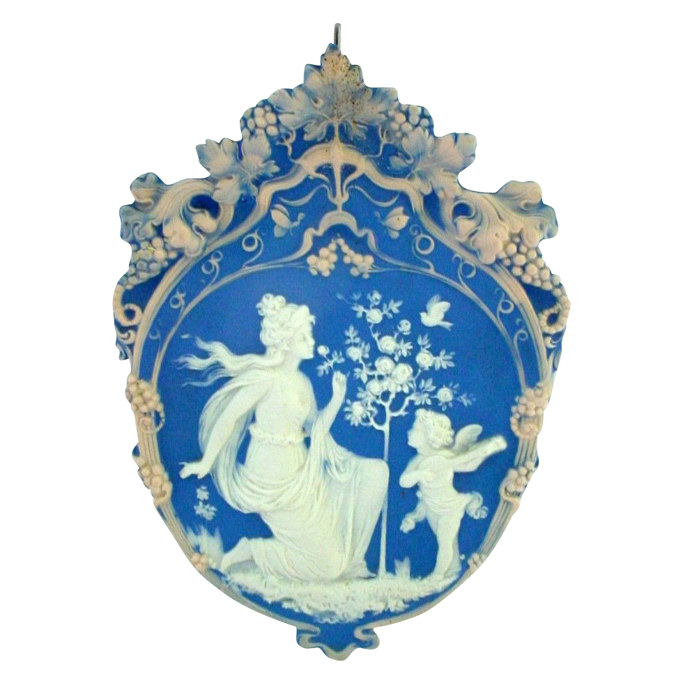 Tricolor German Jasperware Jasper Ware Plaque Woman with Serenading Cupid or Angel
