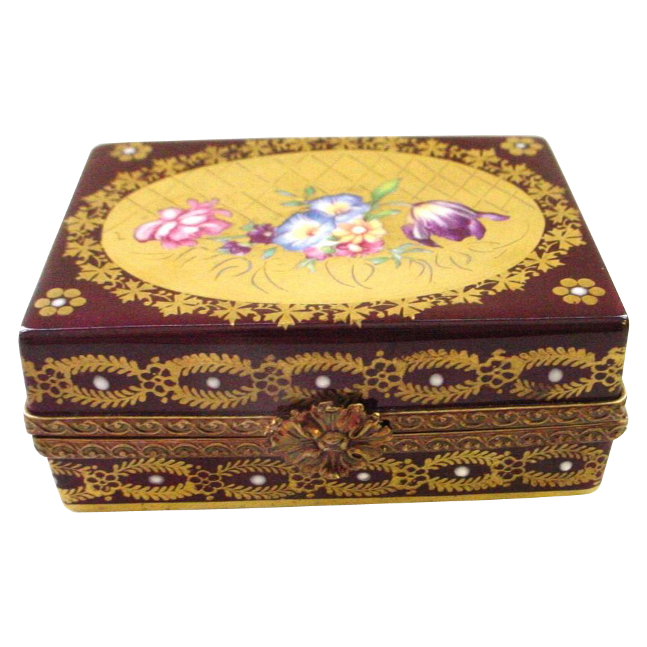 Limoges France Handpainted Box - Burgundy Gold and Flowers