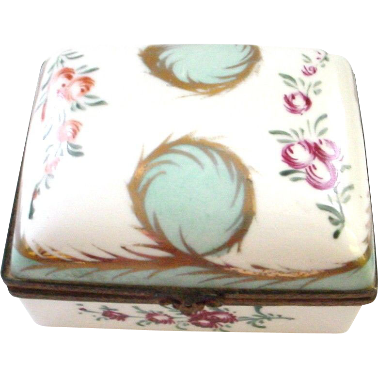 French Handpainted Hinged Box a la Limoges