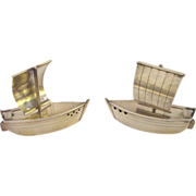 Figural Sterling (950) Boat Salt and Pepper Set