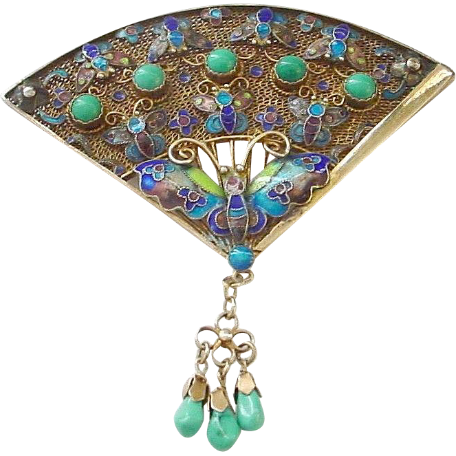 Book Piece!! Chinese Enamel on Sterling Silver Pin with Butterflies - All Turquoise Stones