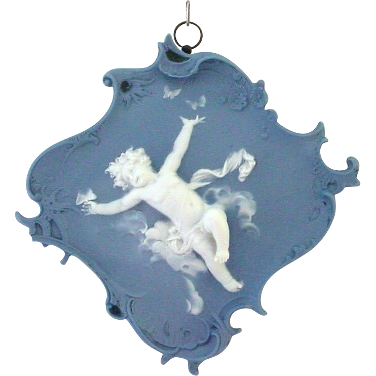 Antique Volkstedt Jasperware Plaque Cherub or Putti Romping with Butterflies