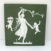 Antique German Jasperware Plaque with Lady, Grapes, and Angels