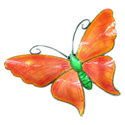Large John Atkins & Sons Angel Wing Butterfly Pin - Melon Color - Enamel on Sterling Silver