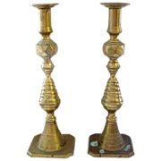 "Pair of 12"" Tall Brass Antique Classic Beehive Candlesticks"