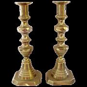 "Antique Tall 11"" Brass Beehive Pushup Candlesticks"