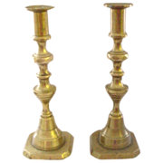 "Antique 9"" Beehive Pair of Brass Pushup Candlesticks"