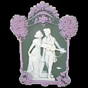 Antique Tricolor Jasperware Plaque Romantic Couple with PomPom Trees