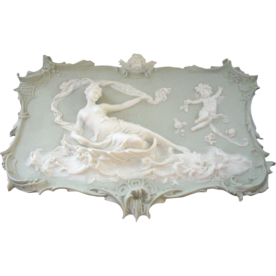 Semi-Nude Antique Volkstedt Jasperware 3-D Plaque with Dolphin and Angels