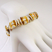 Chunky Modernist Gold Wash Sterling Silver Bracelet