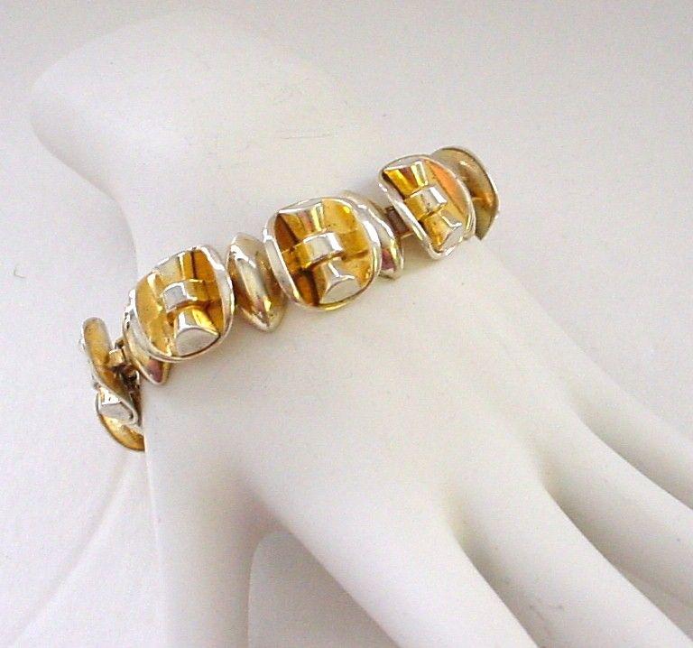Chunky Modernist Gold Wash Sterling Silver Bracelet