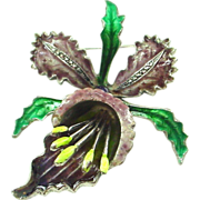 Beautiful Enamel on Silver Orchid Pin Brooch