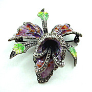 Cattleya Orchid Enamel on Sterling Silver 935 Pin Brooch 1 1/2""