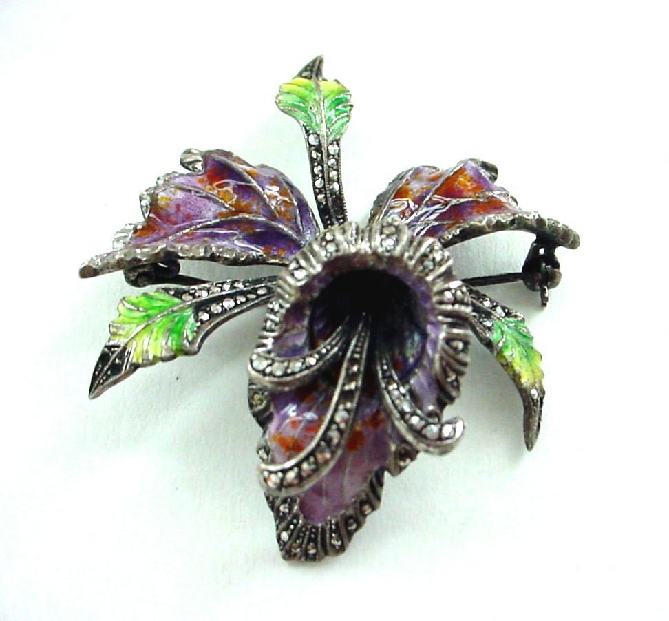 """Cattleya Orchid Enamel on Sterling Silver 935 Pin Brooch 1 1/2"""""""