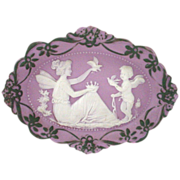Tricolor Jasperware Plaque of Fairy, Birds, Cupid in Lilac