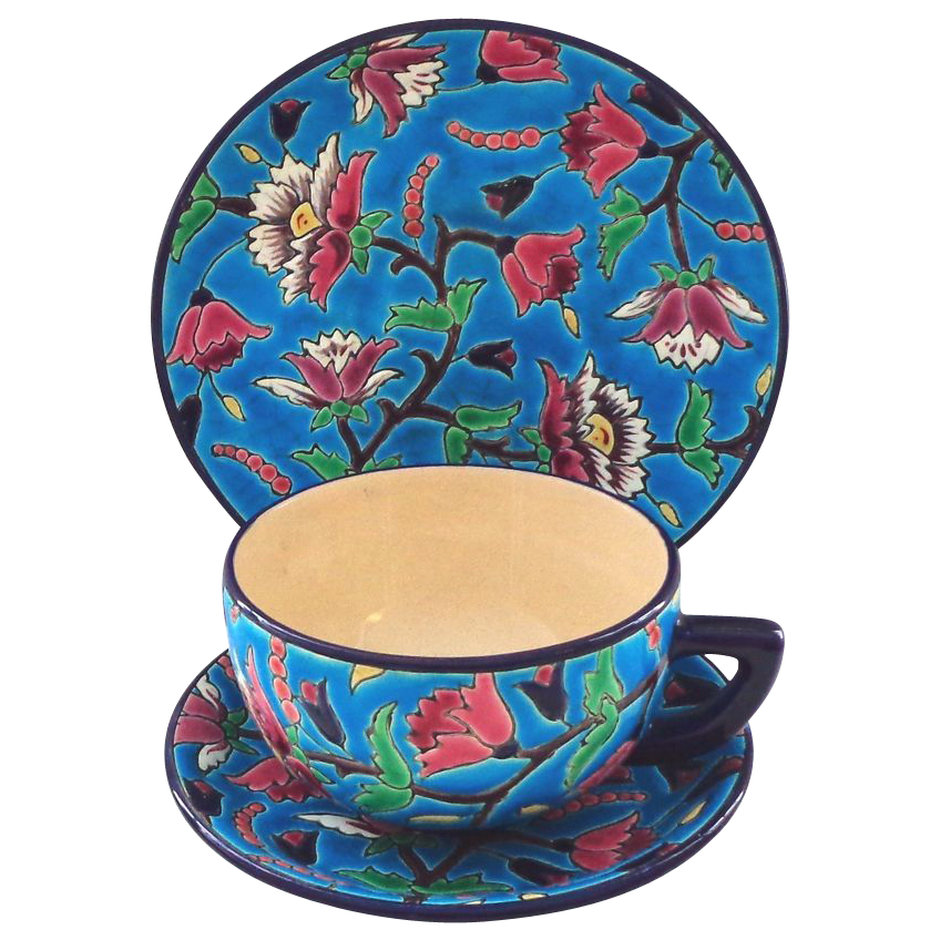 Longwy France Faience Pottery Trio with Oversized Breakfast Cup, Saucer, and Plate (2 of 2)