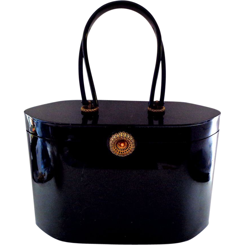 Slick Modernist Black Wilardy Lucite Purse
