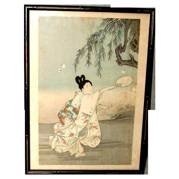 Antique Japanese Chikanobu Woodblock Print 1895 - Firefly Hunting