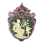 Tricolor German Jasperware Jasper Ware Plaque with Serenading Angel