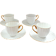 Shelley White and Gold Ribbed Demitasse Cups and Saucers