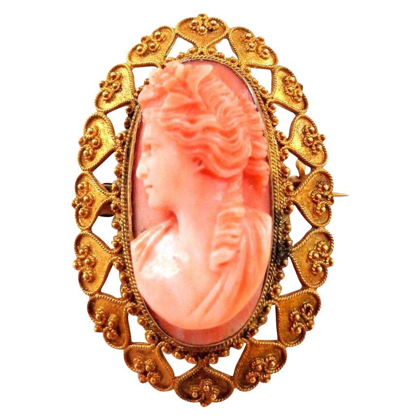 Antique 18K Etruscan Revival, 1870s Coral Cameo High Relief Carved Brooch Pin or Pendant